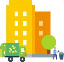 jäteauto kerrostalon pihassa, lähde flaticon.com